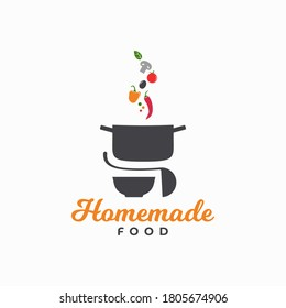 Homemade food logo. Pan with vegetables and plate with ladle on white background