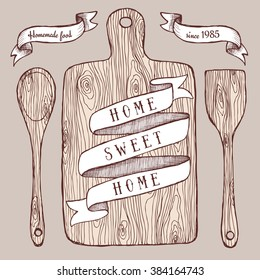Homemade food poster with cutting board in vintage style, vector