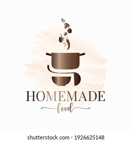 Homemade food watercolor logo. Pan with vegetables and plate with ladle on white background