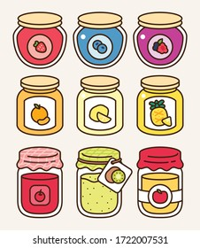 Homemade fruit jam collection with different glass jars: strawberry, blueberry, mix berries, orange, lemon, pineapple, cherry, kiwi, apple. Traditional fruit gel icon vector illustration flat design.