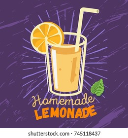 Homemade Lemonade  Label  Design With A Glass Filled Up With Lemonade And Mint Leaves Illustration. Vector Graphic.