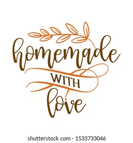 Homemade with love - stamp for homemade products and shops. Vector badge, label. Vector Illustration on a white background