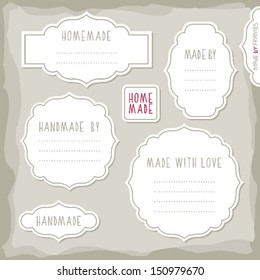 homemade made with love simple white vintage labels with border and shadow and place for your text vector set