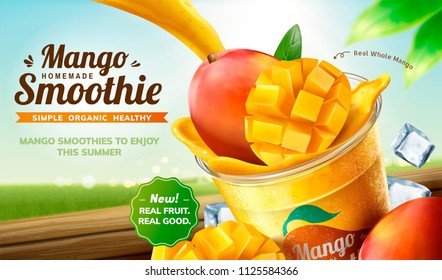 Homemade mango smoothie pouring into takeaway cup with fresh fruit and ice cubes on bokeh nature background in 3d illustration