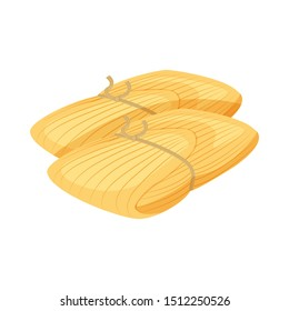 Homemade Mexican food wrapped Tamales vector illustration isolated on white background. Spices traditional food vector.