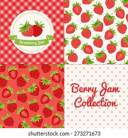 Homemade strawberry jam collection. Paper label and seamless patterns with Gingham, Polka Dot and Berries on color and light background. Perfect for wallpaper, wrapping paper, textile, package design