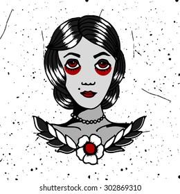 Homemade tattoo t-shirt design. Traditional drawing girl