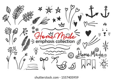 Homemade text emphasis doodle icon set. Sketch decorative elements collection. Star, swish, line, heart, leaf, twig, branch, flower, curl, cat, crown, button, bird, bow, sun, anchor, glows