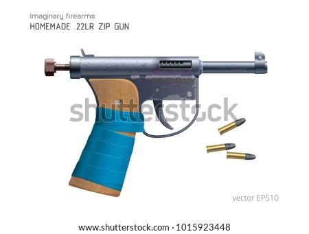 homemade zip gun 22 lr ammo vector stock vector royalty free