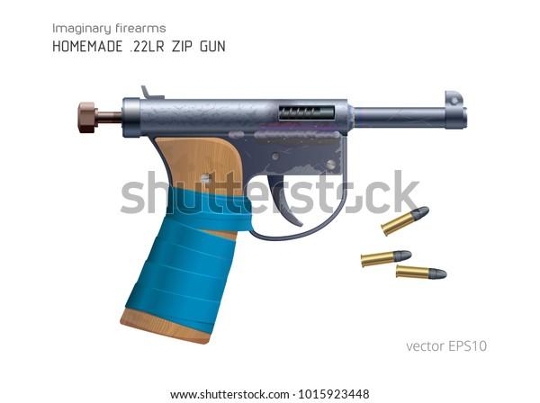 Homemade Zip Gun 22lr Ammo Vector Stock Vector Royalty Free 1015923448