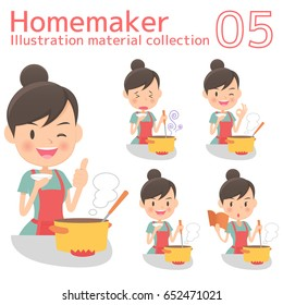 A homemaker cooks delicious food