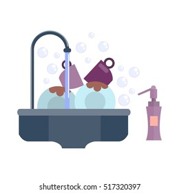 Homemaker and household chores. Washing  dishes. Sink with dirty cups and dishes. Water flowing from the tap