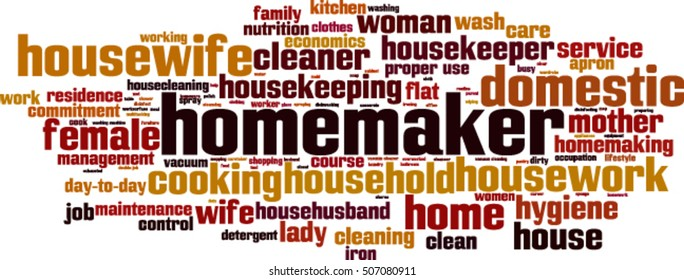 Homemaker word cloud concept. Vector illustration