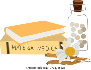 Homeopahy icon or logo, alternative medicine, natural organic therapy, treatment homopathical balls bottle, chamomile and materia medica book isolated on white vector illustration.