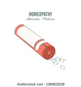 Homeopathic medicine line illustration on a white background. Homeopathic pills. Alternative medicine