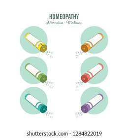 Homeopathic medicine line set on a white background. Homeopathic pills. Alternative medicine