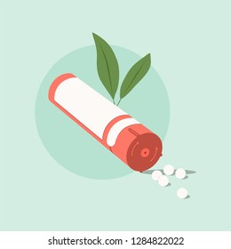 Homeopathic medicine on a green background. Homeopathic pills.Alternative medicine
