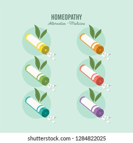 Homeopathic medicine set on a green background. Homeopathic pills. Alternative medicine