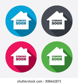 Homepage coming soon sign icon. Promotion announcement symbol. Circle buttons with long shadow. Vector