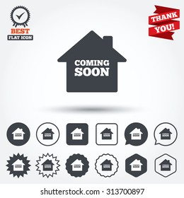 Homepage coming soon sign icon. Promotion announcement symbol. Circle, star, speech bubble and square buttons. Award medal with check mark. Thank you. Vector