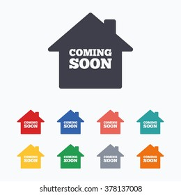 Homepage coming soon sign icon. Promotion announcement symbol. Colored flat icons on white background.