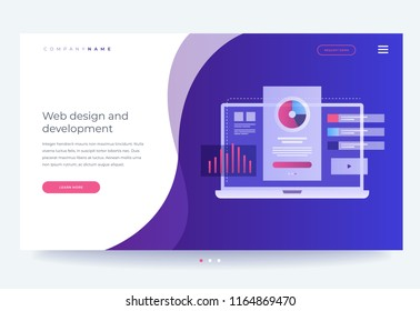 Homepage. The concept of developing mobile UI / UX interface. Smartphone with interface elements. Digital industry. Innovations and technologies. Vector flat illustration for web page, banner.
