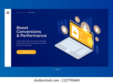 Homepage. Header for website. Concept of marketing technology. Optimization of website and search engines. Increasing conversion email, social media and content. Isometric vector illustration.