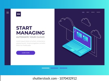 Homepage. Header for website and mobile website. Concept of cloud storage, computer technology, Internet. Synchronization and storage of data. 3d isometric flat design. Vector illustration.