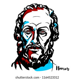 Homer engraved vector portrait with ink contours. Legendary author of the Iliad and the Odyssey, two epic poems that are the central works of ancient Greek literature.