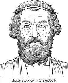 Homer portrait in line art illustration. Classical Greek (Athenian) philosopher.