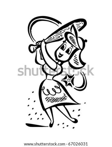 Homerun Housewife Retro Clipart Illustration Stock Vector Royalty