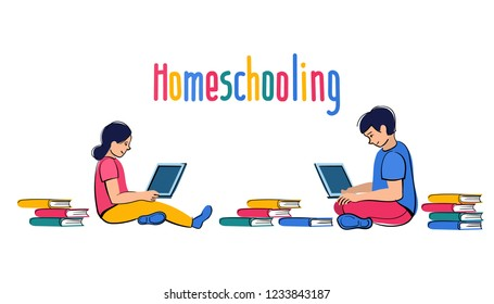 Homeschooling. Children sit at laptops and study far off in online to school. Internet education