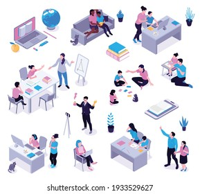Homeschooling isometric set with parents helping studying children creating informal learning space teaching through games vector illustration