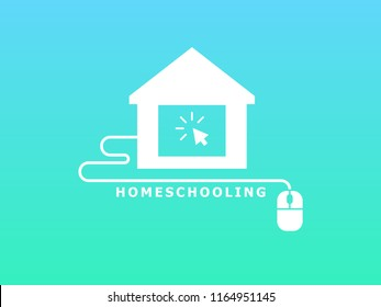Homeschooling. Online tuition remotely. The symbol of family learning. House and wire with mouse. Text inscription. Green and blue background. White icon. Flat vector illustration.