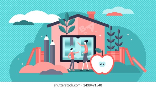 Homeschooling vector illustration. Flat tiny mind education system persons concept. Creative and smart primary lesson method for knowledge learning in childhood house. Mother or teacher occupation.