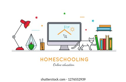 Homeschooling  vector illustration in thin line style. Education online  and home office conceptual poster, banner, cover. Workplace in home interior with books, pencils, desk lamp, table