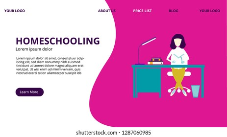 Homeschooling vector illustration, web concept, girl sitting at a desk