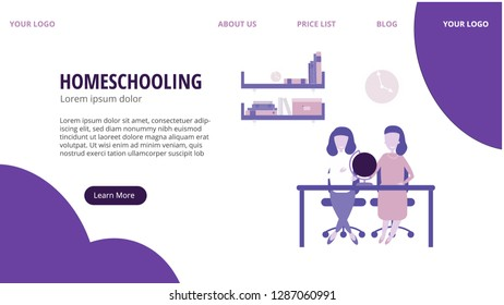 Homeschooling vector illustration, web concept