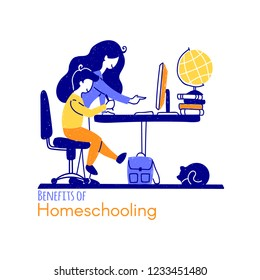 Homeschooling is a way to get an education, which involves the study of general subjects outside of school. The child is studying at home with his mother or teacher