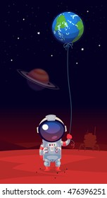 Homesick astronaut in a spacesuit standing on mars holding balloon shaped like the earth in his hand