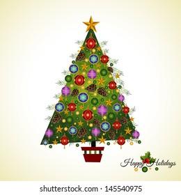 Homespun Asymmetrical  hand decorated Pine Christmas  tree