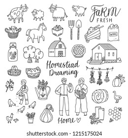 Homestead dreaming outline vector illustrations set
