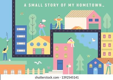 Hometown illustration of map concept. flat design style minimal vector illustration