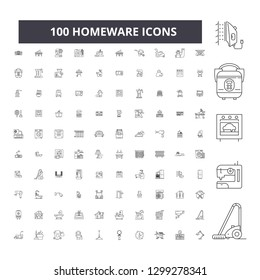 Homeware editable line icons, 100 vector set, collection. Homeware black outline illustrations, signs, symbols