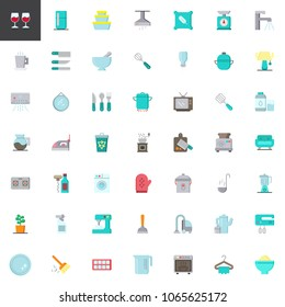 Homeware elements collection, flat icons set, Colorful symbols pack contains - refrigerator, vacuum cleaner, washing machine, microwave oven, food processor. Vector illustration. Flat style design