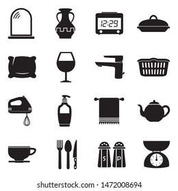 Homeware Icons. Black Flat Design. Vector Illustration.