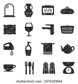 Homeware Icons. Black Scribble Design. Vector Illustration.
