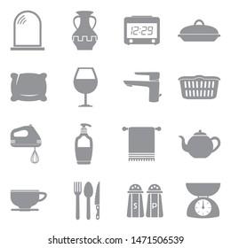 Homeware Icons. Gray Flat Design. Vector Illustration.