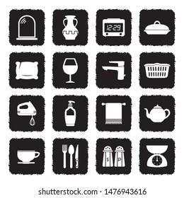 Homeware Icons. Grunge Black Flat Design. Vector Illustration.