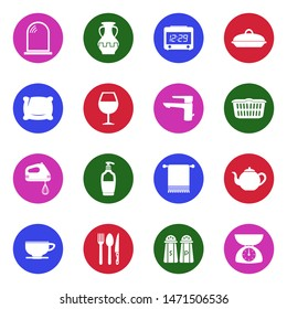 Homeware Icons. White Flat Design In Circle. Vector Illustration.